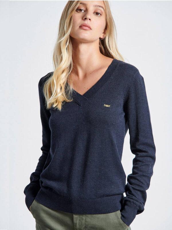 Γυναικεία Πλεκτή Μπλούζα με άνοιγμα V